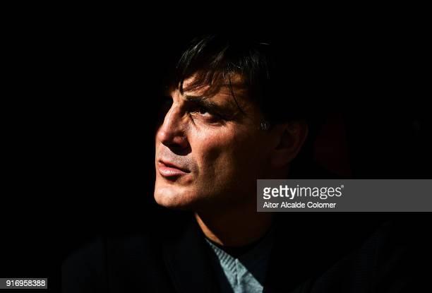 Head Coach of Sevilla FC Vincenzo Montella looks on during the La Liga match between Sevilla and Girona at Estadio Ramon Sanchez Pizjuan on February...