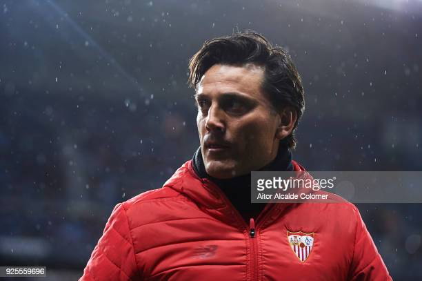 Head Coach of Sevilla FC Vincenzo Montella looks on during the La Liga match between Malaga and Sevilla at Estadio La Rosaleda on February 28 2018 in...