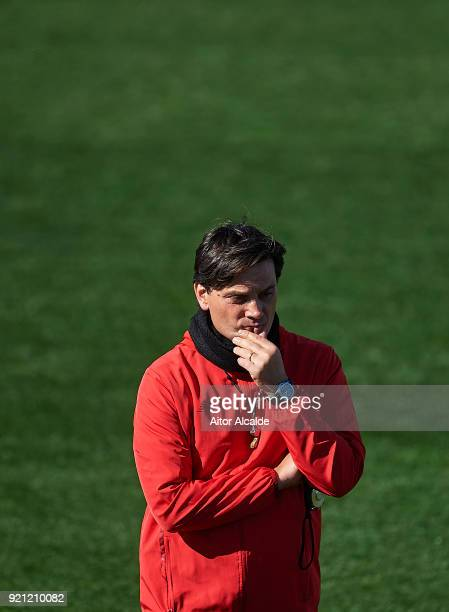 Head Coach of Sevilla FC Vincenzo Montella looks on during the training session of Sevilla FC prior to their UEFA Champions match against Manchester...