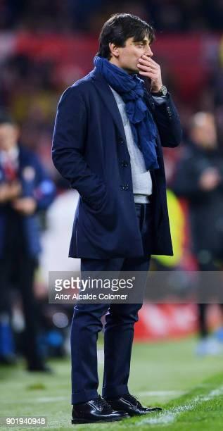Head Coach of Sevilla FC Vincenzo Montella reacts during the La Liga match between Sevilla FC and Real Betis Balompie at Estadio Ramon Sanchez...
