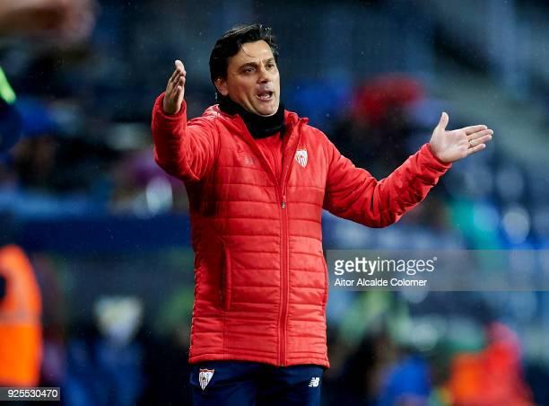 Head Coach of Sevilla FC Vincenzo Montella reacts during the La Liga match between Malaga CF and Sevilla FC at Estadio La Rosaleda on February 28...