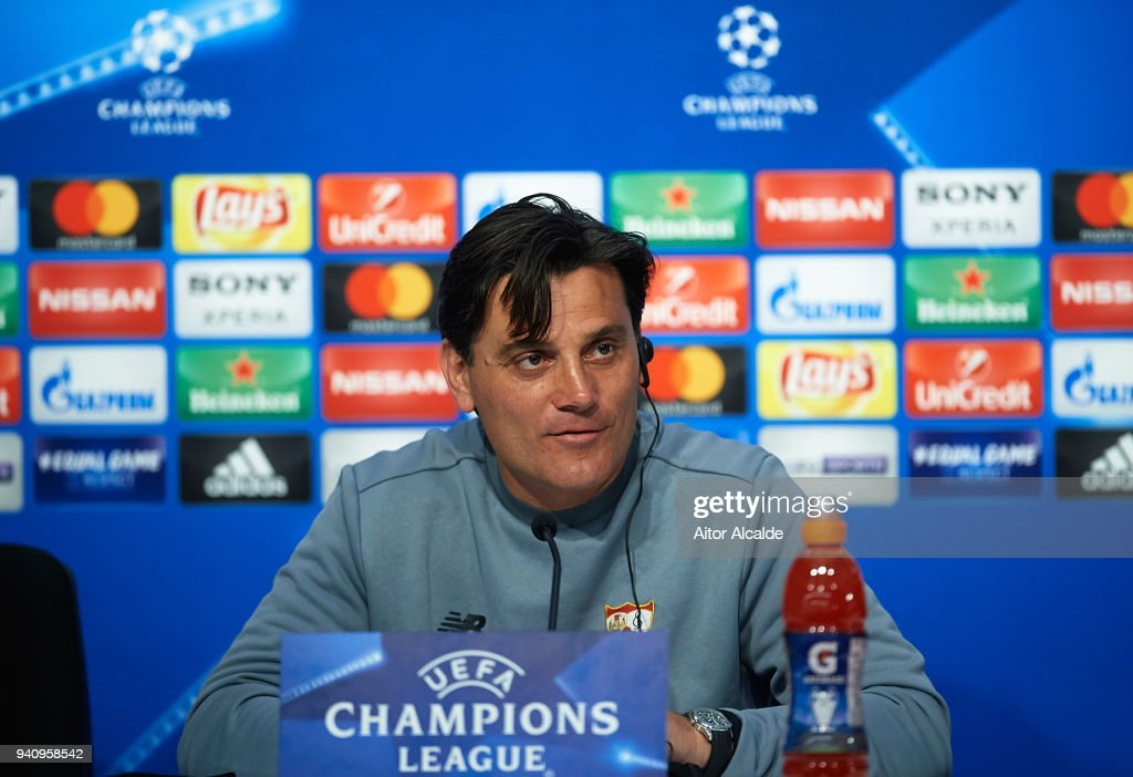 Head Coach of Sevilla FC, Vincenzo Montella speaks to the media during the Press Conference prior to the UEFA Champions League match against Bayern Munich at Estadio Ramon Sanchez Pizjuan on April 2, 2018 in Seville, Spain.