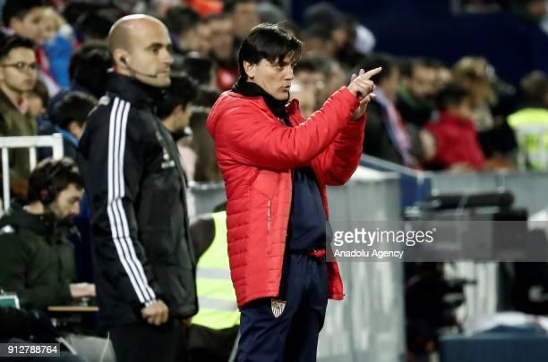 Head coach of Sevilla Vincenzo Montella gestures during the Copa del Rey semi final match between Leganes and Sevilla at the Estadio Municipal...