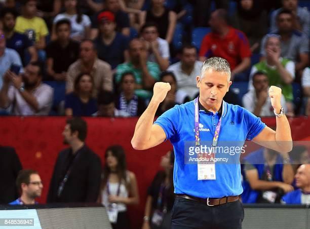 Head Coach of Slovenia Igor Kokoskov gestures during the FIBA Eurobasket 2017 final basketball match between Slovenia and Serbia at the Sinan Erdem...