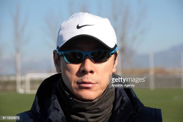 Head coach of South Korea national football team Shin Taeyong speaks to media during a training session ahead of the 2018 FIFA World Cup at Belek...