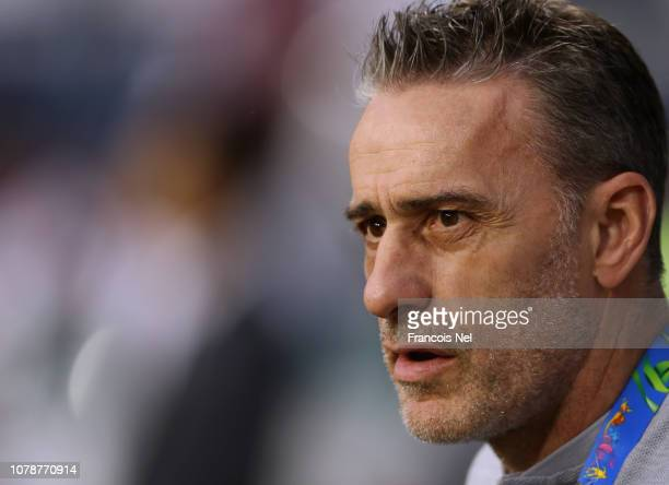 Head Coach of South Korea Paulo Bento looks on during the AFC Asian Cup Group C match between South Korea and Philippines at Al Maktoum Stadium on...