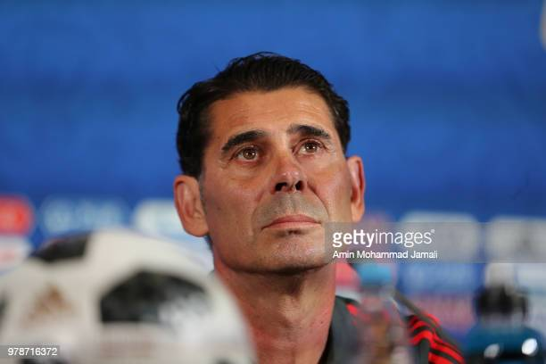 Head coach of Spain Fernando Hierro looks on during a press Conference before match 18 Between Iran Spain at Kazan Arena on June 19 2018 in Kazan...