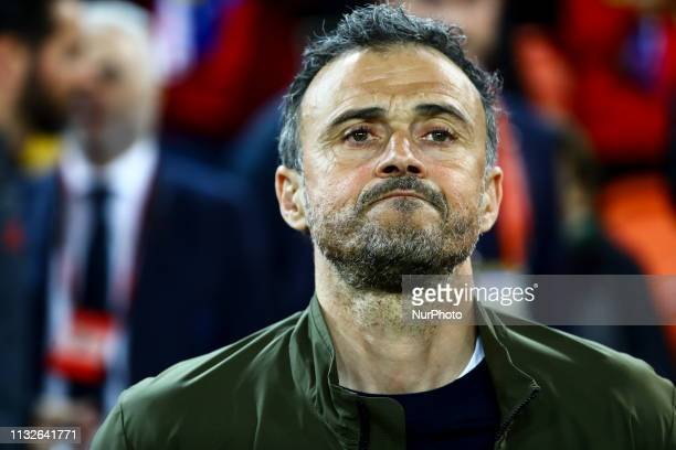 Head coach of Spain Luis Enrique Martinez before European Championship 2020 Qualifying Round match between Spain vs Norway at Mestalla Stadium on...