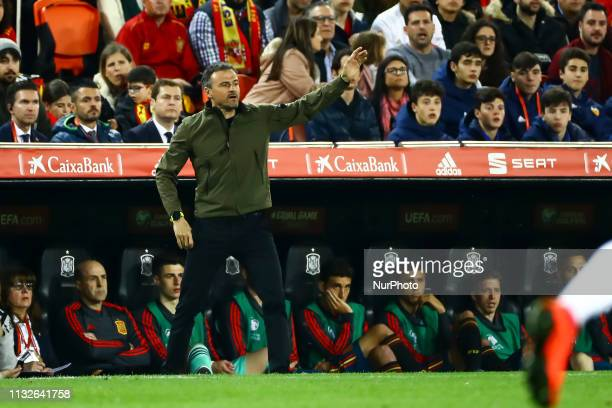Head coach of Spain Luis Enrique Martinez during European Championship 2020 Qualifying Round match between Spain vs Norway at Mestalla Stadium on...