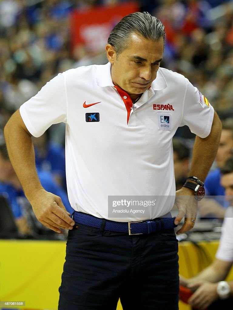 Head Coach of Spain Sergio Scariolo is seen during the EuroBasket 2015 group B match between Spain and Serbia at Mercedes-Benz Arena in Berlin, Germany on September 5, 2015.