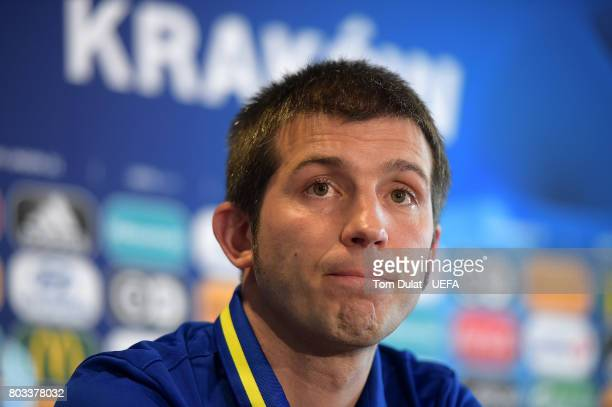 Head coach of Spain U21 Albert Celades Lopez speaks to the media during a press conference at Krakow Stadium on June 29 2017 in Krakow Poland