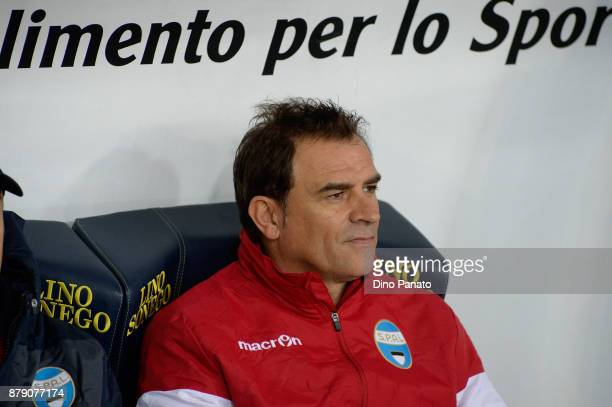 Head coach of Spal Leonardo Semplici looks in during the Serie A match between AC Chievo Verona and Spal at Stadio Marc'Antonio Bentegodi on November...
