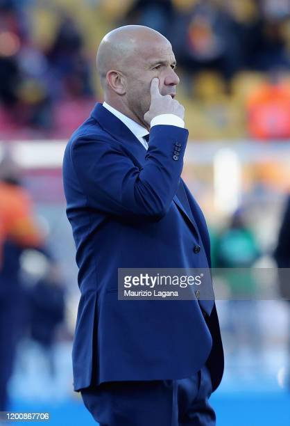 Head coach of Spal Luigi Di Biagio during the Serie A match between US Lecce and SPAL at Stadio Via del Mare on February 16 2020 in Lecce Italy