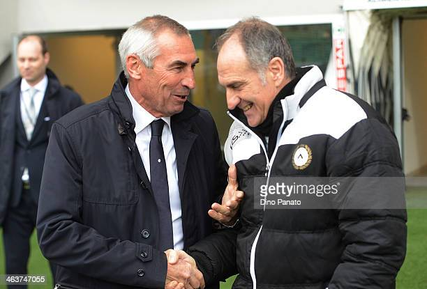 Head coach of SS Lazio Edy Reja shakes hands with Head coach of Udinese Francesco Guidolin during the Serie A match between Udinese Calcio and SS...