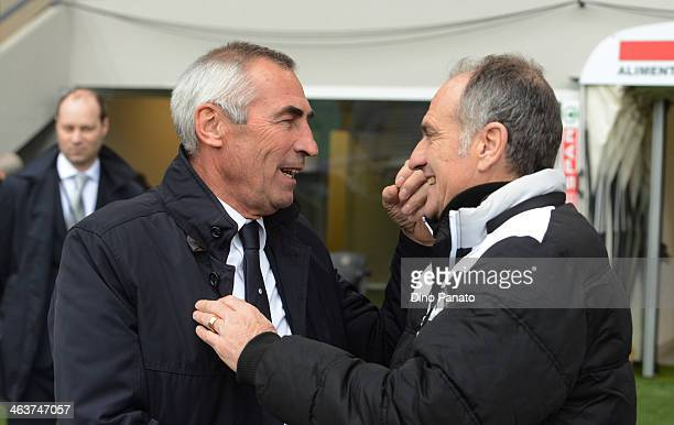 Head coach of SS Lazio Edy Reja shakes hands with Head coach of Udinese Francesco Guidolin before the Serie A match between Udinese Calcio and SS...