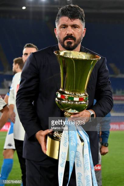 Head coach of SSC Napoli Gennaro Gattuso celebrating with the trophy the winning of the Coppa Italia after the Coppa Italia Final match between...