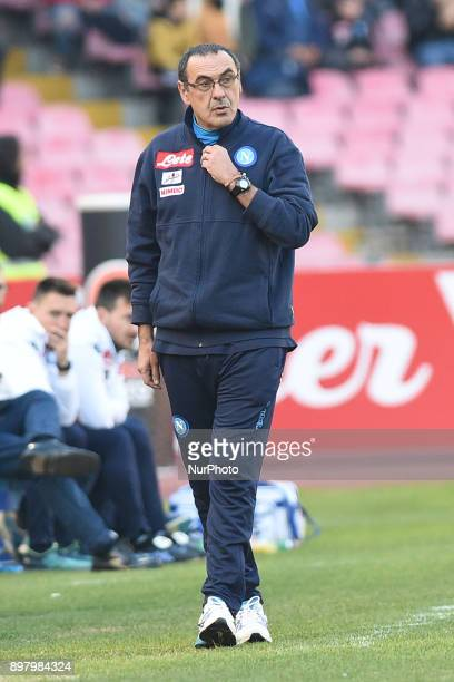 Head coach of SSC Napoli Maurizio Sarri during the Serie A TIM match between SSC Napoli and UC Sampdoria at Stadio San Paolo Naples Italy on 23...