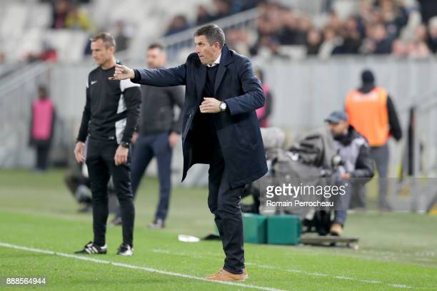 Head coach of Strasbourg Thierry Laurey gestures before the Ligue 1 match between FC Girondins de Bordeaux and Strasbourg at Stade Matmut Atlantique...