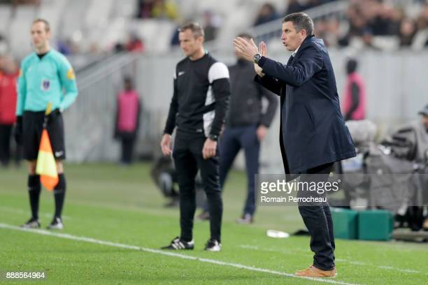 Head coach of Strasbourg Thierry Laurey gestures during the Ligue 1 match between FC Girondins de Bordeaux and Strasbourg at Stade Matmut Atlantique...