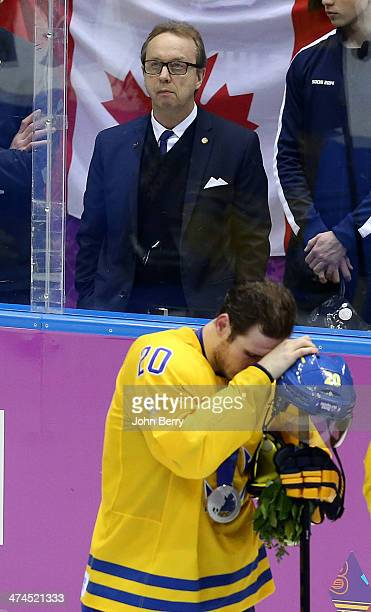 Head coach of Sweden Par Marts looks on during the medal ceremony of the Men's Ice Hockey Gold Medal match between Canada and Sweden on Day 16 of the...