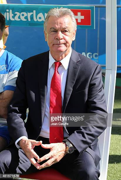 Head coach of Switzerland Ottmar Hitzfeld looks on prior to the 2014 FIFA World Cup Brazil Round of 16 match between Argentina and Switzerland at...