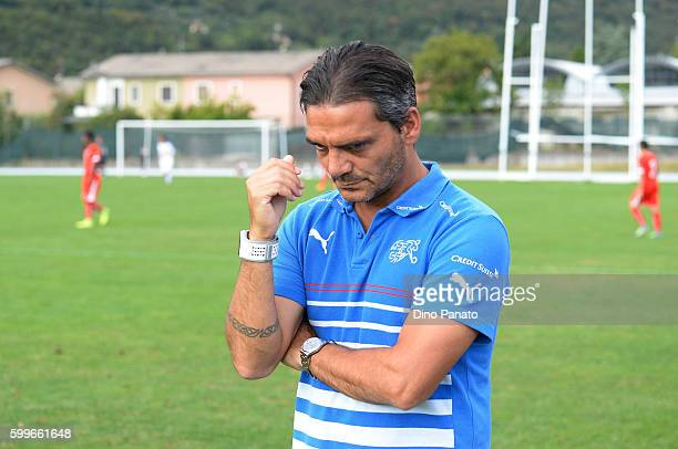 Head coach of Switzerland U16 Massimo Lombardo reacts during the international friedly match between Italy U16 and Switzerland U16 on September 6...