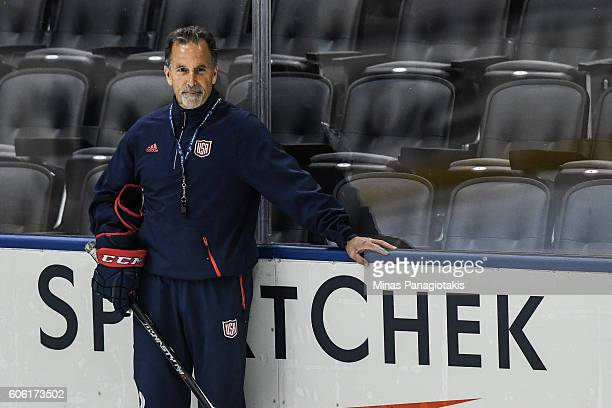 Head coach of Team USA John Tortorella looks on during practice at the World Cup of Hockey 2016 at Air Canada Centre on September 16 2016 in Toronto...