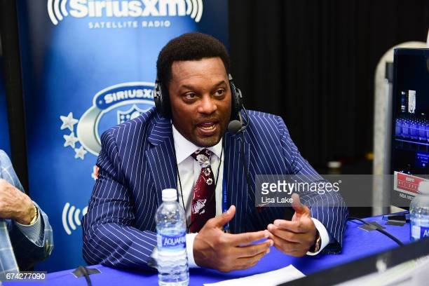 Head Coach of Texas AM University Kevin Sumlin visits the SiriusXM NFL Radio talkshow during the first round of the 2017 NFL Draft at Philadelphia...