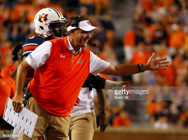 Head coach of the Auburn Tigers Gus Malzahn reacts after a stop against the Georgia Southern Eagles during the second half of an NCAA college...