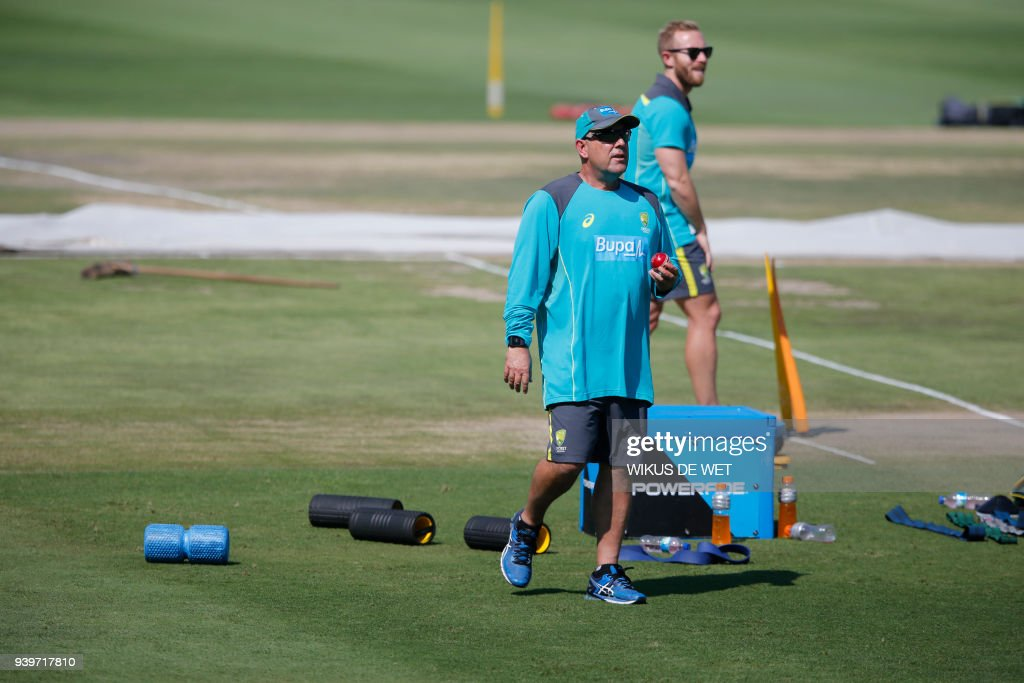 Head Coach of the Australia cricket team Darren Lehmann attends a training session of the Australian Cricket Team members at Wanderers Cricket Stadium in Johannesburg on March 29, 2018 ahead of the South Africa vs Australia 4th Test match. Australia cricket coach said on March 29 he would quit as coach of the scandal-tainted Australia cricket team after the fourth and final Test of the ongoing series in South Africa. /