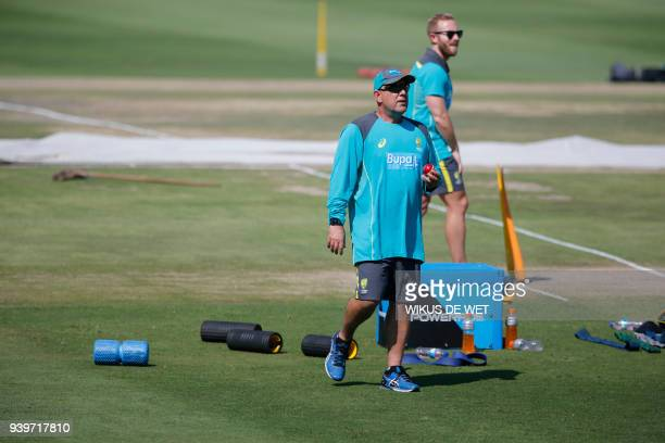 Head Coach of the Australia cricket team Darren Lehmann attends a training session of the Australian Cricket Team members at Wanderers Cricket...
