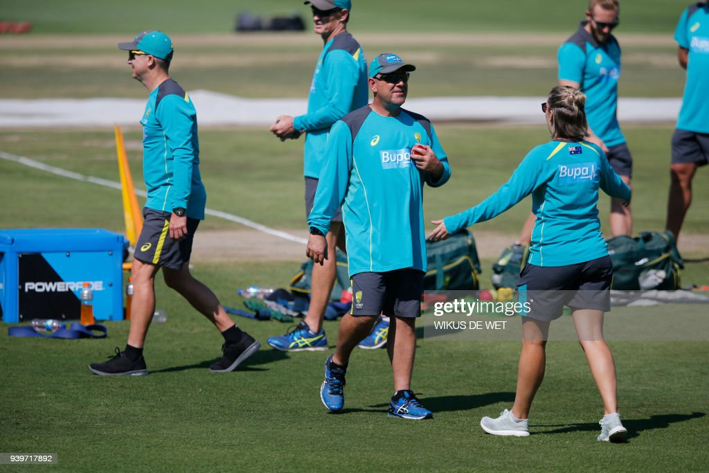 Head Coach of the Australia cricket team Darren Lehmann (C) attends a training session of the Australian Cricket Team members at Wanderers Cricket Stadium in Johannesburg on March 29, 2018 ahead of the South Africa vs Australia 4th Test match. Australia cricket coach said on March 29 he would quit as coach of the scandal-tainted Australia cricket team after the fourth and final Test of the ongoing series in South Africa. /