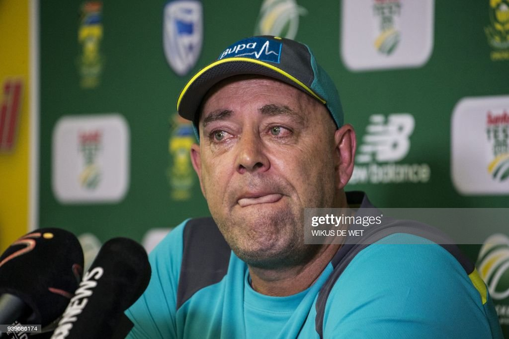 Head Coach of the Australia cricket team Darren Lehmann responds to questions during a press conference in Johannesburg on March 29, 2018 at which he announced his resignation after the forthcoming Test match against South Africa. Australia cricket coach Darren Lehmann said on March 29, 2018 he would quit after the final match of the scandal-tainted Test series in South Africa after the team's former captain Steve Smith broke down in tears and accepted complete responsibility for the ball-tampering incident. /