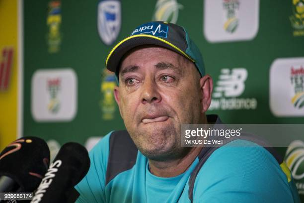 Head Coach of the Australia cricket team Darren Lehmann responds to questions during a press conference in Johannesburg on March 29 2018 at which he...
