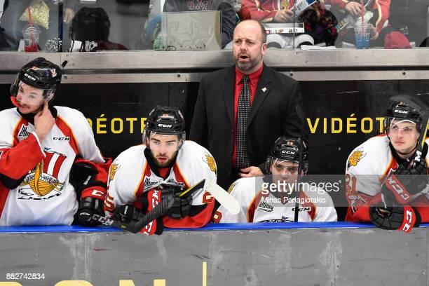 Head coach of the BaieComeau Drakkar Martin Bernard looks on against the BlainvilleBoisbriand Armada during the QMJHL game at Centre d'Excellence...