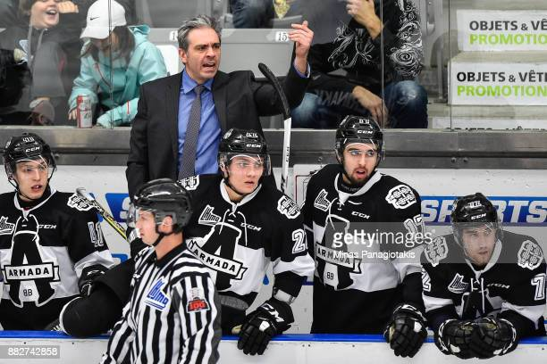 Head coach of the BlainvilleBoisbriand Armada Joel Bouchard calls out instructions to his players against the BaieComeau Drakkar during the QMJHL...