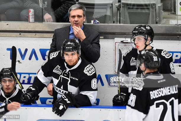 Head coach of the BlainvilleBoisbriand Armada Joel Bouchard looks on against the BaieComeau Drakkar during the QMJHL game at Centre d'Excellence...