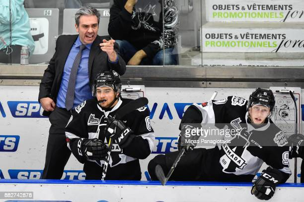 Head coach of the BlainvilleBoisbriand Armada Joel Bouchard reacts against the BaieComeau Drakkar during the QMJHL game at Centre d'Excellence Sports...