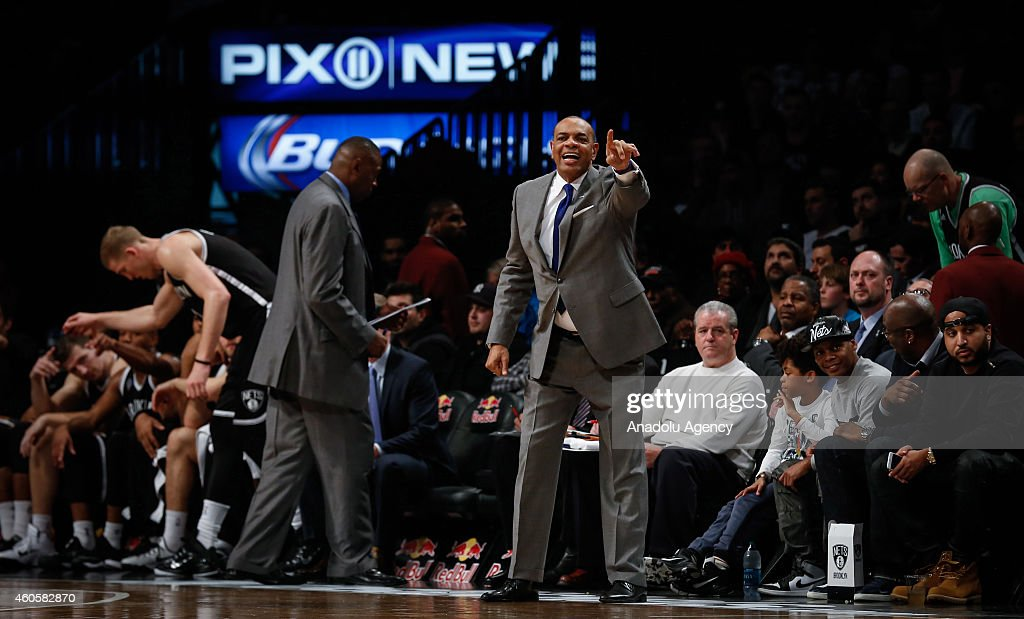 Head coach of the Brooklyn Nets Lionel Hollins reacts during NBA basketball game between Brooklyn Nets and Miami Heat at the Barclays Center in the Brooklyn Borough of New York City, on December 16, 2014.