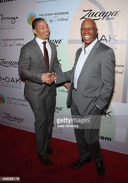 Head coach of the Cleveland Cavaliers Tyronn Lue and recording artist Jeffrey Osborne attend the Coach Woodson Las Vegas Invitational red carpet and...