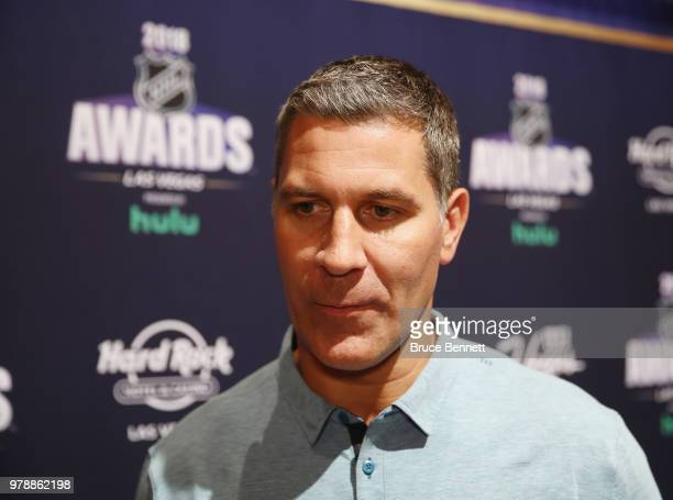 Head coach of the Coloardo Avalanch Jared Bednar speaks with the media during the 2018 NHL Awards nominee media availability at the Encore Las Vegas...