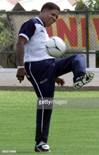 Head coach of the Colombian soccer team Francisco Maturana practices with a soccer ball during a training session in Barranquilla 19 July 2001...