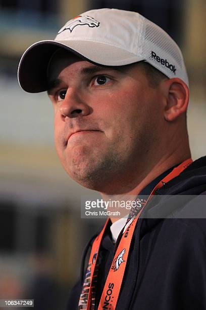 Head coach of the Denver Broncos Josh McDaniels speaks to the media during a press conference prior to the start of a team training session at The...
