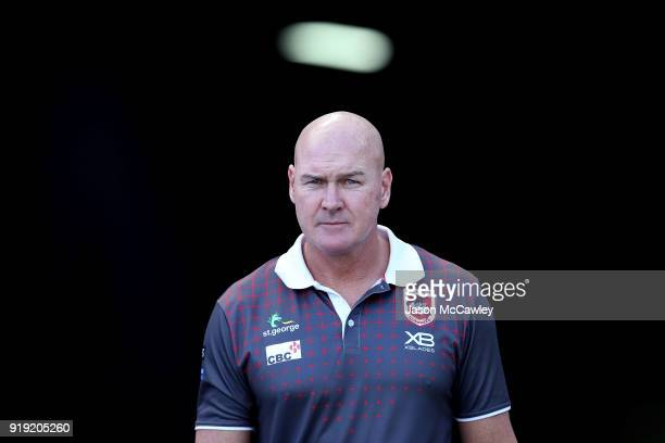 Head Coach of the Dragons Paul McGregor looks on during the NRL trial match between the St George Illawarra Dragons and Hull at ANZ Stadium on...