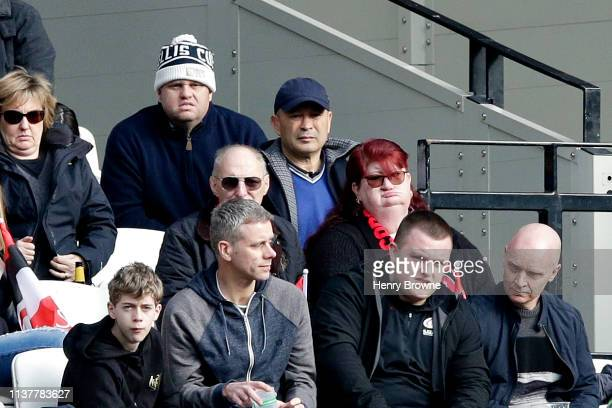 Head Coach of the England National Rugby team Eddie Jones looks on during the Gallagher Premiership Rugby match between Saracens and Harlequins at...
