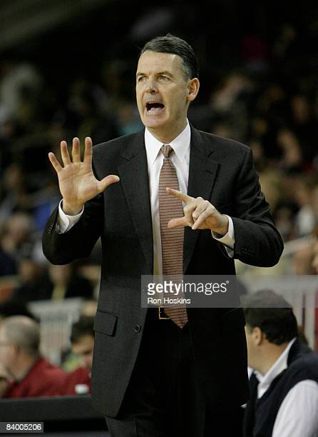 Head coach of the Erie BayHawks John Treloar directs his team to a victory over the Iowa Energy 10393 at Tullio Arena on December 11 2008 in Erie...