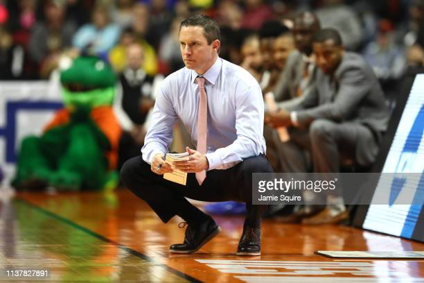 Head coach of the Florida Gators shouts against the Michigan Wolverines in the second round game of the 2019 NCAA Men's Basketball Tournament at...
