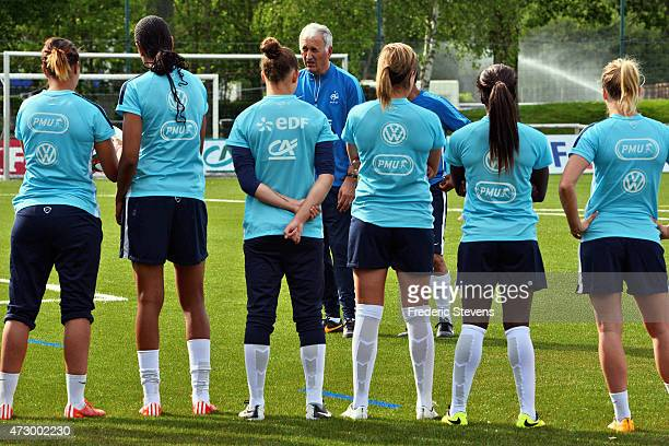 Head coach of the French national women's football team Philippe Bergeroo looks on during a training session as part of the preparation for a...