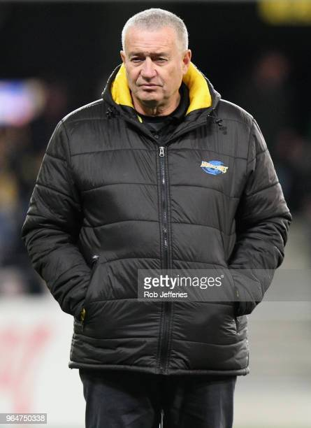 Head coach of the Hurricanes Chris Boyd during the round 16 Super Rugby match between the Highlanders and the Hurricanes at Forsyth Barr Stadium on...
