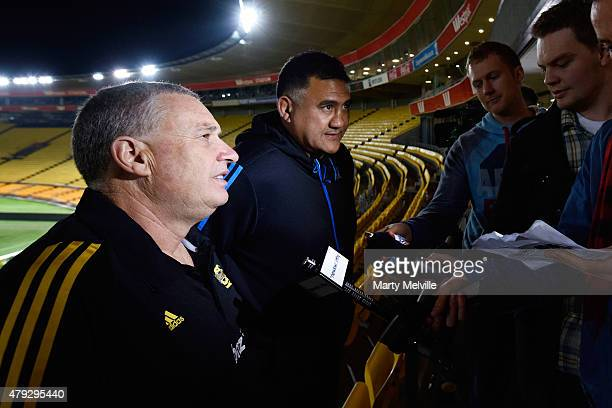 Head coach of the Hurricanes Chris Boyd speaks to the media during the Super Rugby Final media opportunity at Westpac Stadium on July 3 2015 in...